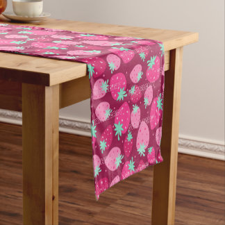 Colorful pink strawberry pattern short table runner