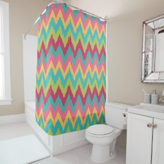 Colorful Pink Teal Green Yellow Chevron Zigzag Shower Curtain