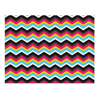 Colorful Pink Yellow Blue Chevron Stripes Zig Zag Post Cards