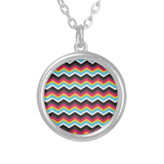 Colorful Pink Yellow Blue Chevron Stripes Zig Zag Round Pendant Necklace