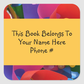 Colorful Pinwheel Book Name Plate Sticker