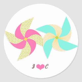 Colorful Pinwheel Themed Wedding Classic Round Sticker