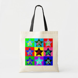 Colorful Pit Bull Graphic Reusable Tote Bag