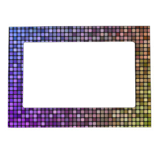 Colorful pixel mosaic photo frame magnets