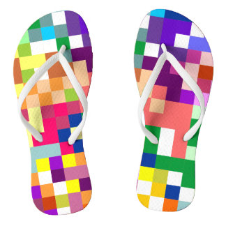 Colorful Pixelate with White Straps Thongs
