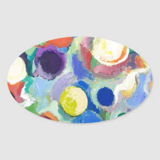 Colorful Planets (abstract expressionism) Oval Sticker
