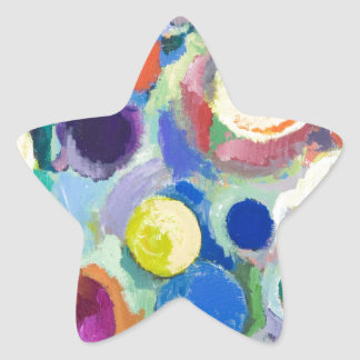 Colorful Planets (abstract expressionism) Star Sticker