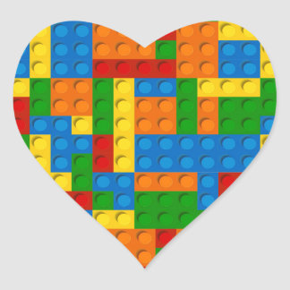 colorful plastic blocks heart sticker