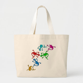 Colorful, playful lizards large tote bag