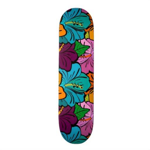 Colorful Playful Multi-Colored Hibiscus Custom Skate Board