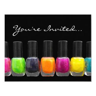 Colorful Polish Bottles, Nail Salon Manicure Party 11 Cm X 14 Cm Invitation Card