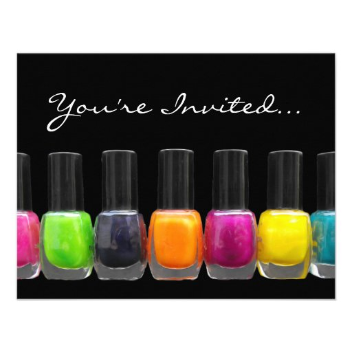 Colorful Polish Bottles, Nail Salon Manicure Party Invitation