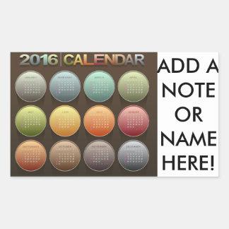 Colorful Polka Dot 2016 Calendar Rectangular Sticker