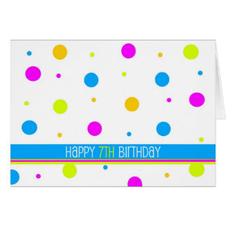 Colorful Polka Dot 7th Birthday Card