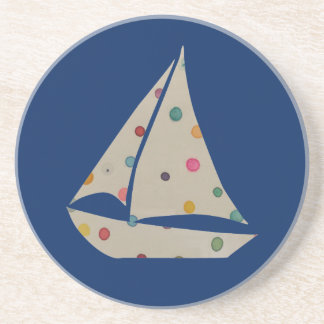 Colorful Polka Dot Boat Unique Modern Design Coasters