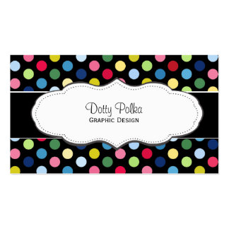 Colorful polka dot business cards
