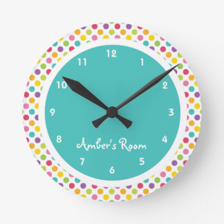 Colorful Polka Dot Kid's Bedroom Wall Clocks