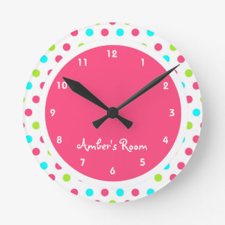 Colorful Polka Dot Kid's Bedroom Wallclocks