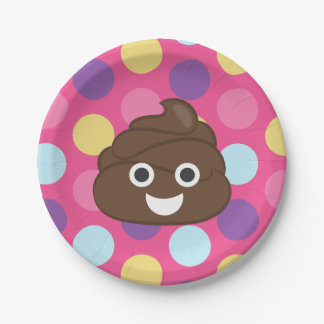 Colorful Polka Dot Poo Emoji Party Plates 7 Inch Paper Plate