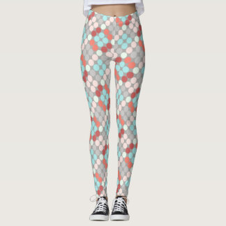 Colorful polka dots, aqua rose salmon, on gray leggings