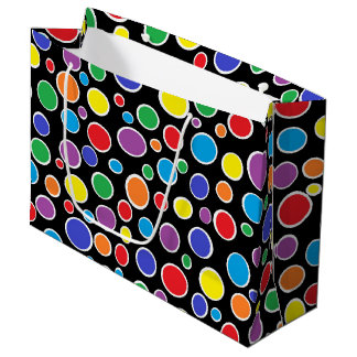 Colorful Polka Dots Black Large Gift Bag