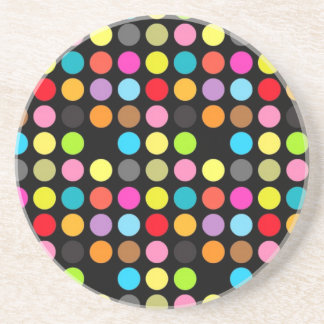 Colorful Polka Dots on Black Coaster