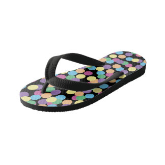 Colorful Polka-Dots on Black Kid's Thongs