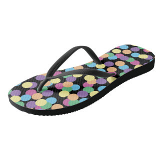 Colorful Polka-Dots on Black Thongs