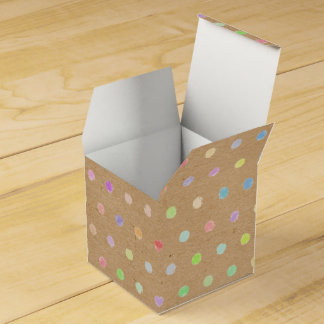 Colorful Polka Dots On Faux Kraft Paper Background Favour Box