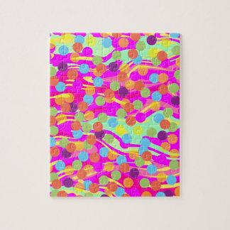Colorful Polka-Dots on Swirls Jigsaw Puzzle
