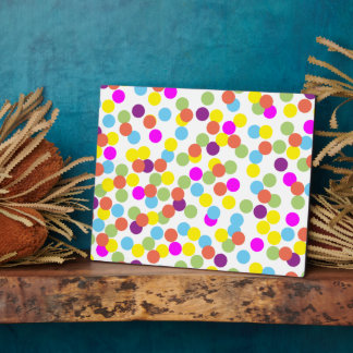 Colorful Polka-Dots on White Background Plaque