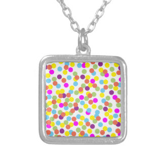 Colorful Polka-Dots on White Necklace Pendants