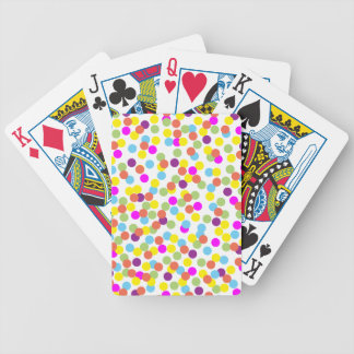 Colorful Polka-Dots on White Poker Deck