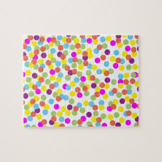 Colorful Polka-Dots on White Puzzle