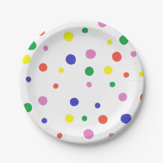 Colorful Polka Dots Paper Plates 7 Inch Paper Plate