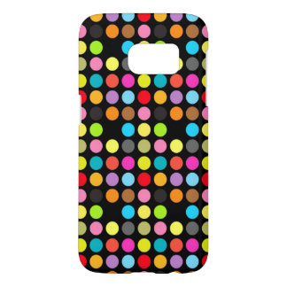 Colorful Polka Dots Pattern on Black