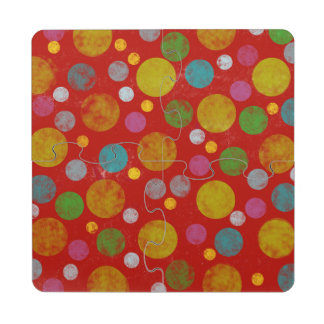colorful polka-dots pattern puzzle coaster