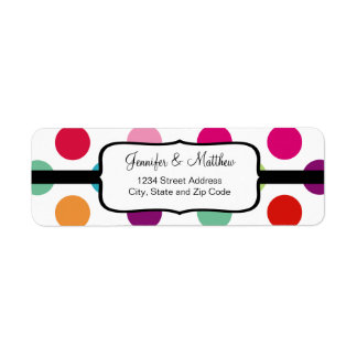 Colorful Polka Dots Pattern Return Address Label