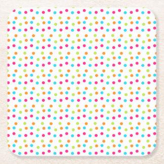 Colorful polka dots Square Coasters Square Paper Coaster