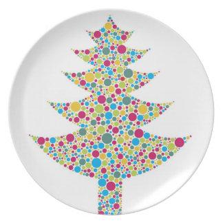 Colorful Polka Dots Tree Plate