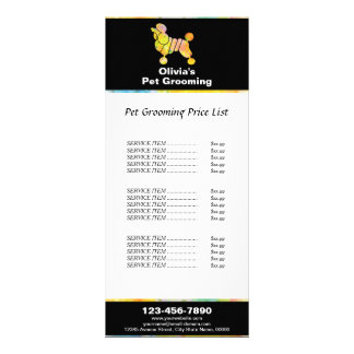 Colorful Poodle Pet Grooming Price List Rack Card