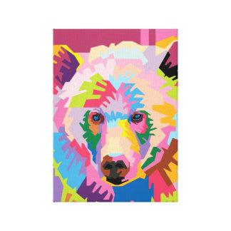 Colorful Pop Art Bear Portrait Canvas Print