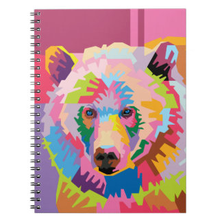 Colorful Pop Art Bear Portrait Notebook