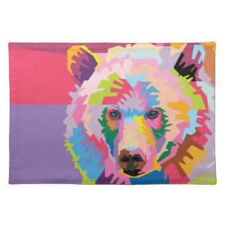 Colorful Pop Art Bear Portrait Placemat