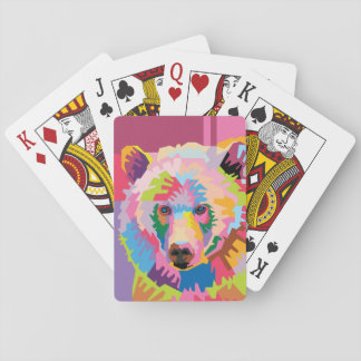 Colorful Pop Art Bear Portrait Playing Cards