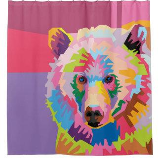 Colorful Pop Art Bear Portrait Shower Curtain