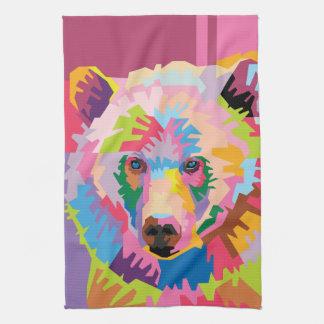 Colorful Pop Art Bear Portrait Tea Towel
