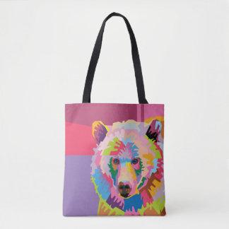 Colorful Pop Art Bear Portrait Tote Bag