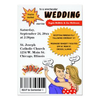 """Colorful Pop Art Comic Book Cover Wedding Invite 5"""" X 7"""" Invitation Card"""