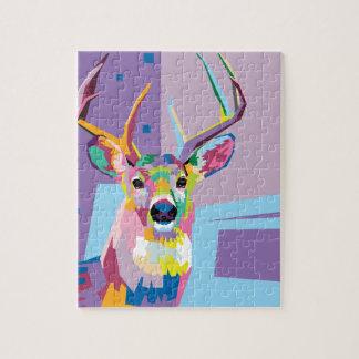 Colorful Pop Art Deer Portrait Jigsaw Puzzle